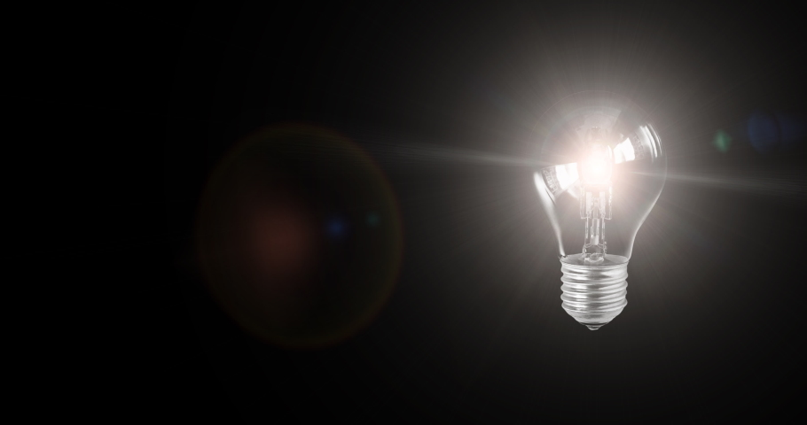 Light bulb with electric power abstract creative idea think innovation technology inspiration with flickering light lens flare on isolated black backgrounds   Shutterstock HD Video #1055260661