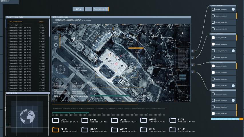 War Planes Detected on Hmeimim Air Base in Syria, Satellite Camera. Futuristic Spy Technology, UI, Data Screen.