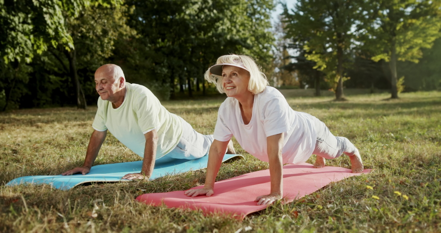 Senior couple is doing sport outdoors. Stretching in park during sunrise. Doing yoga together. Healthy lifestyle concept | Shutterstock HD Video #1055269562