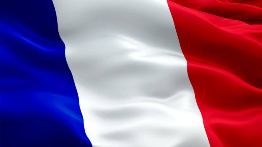 France flag waving in wind. Realistic French Flag background. French National Day, Bastille Day, French Revolution Holiday. France Flag Looping Closeup 1080p Full HD footage. France Lyon Cote De Azur    Shutterstock HD Video #1055276123