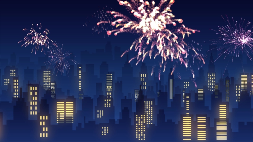 City Fireworks Independence Day 4th of July Background - New Year City at night with Fireworks motion background - 4K animation