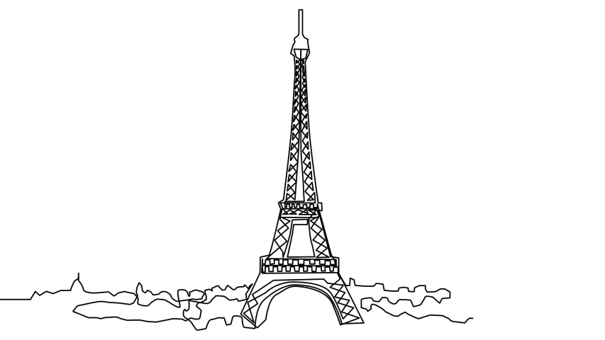 Continuous line drawing of the Eiffel Tower in Paris attractions illustration   Shutterstock HD Video #1055279735