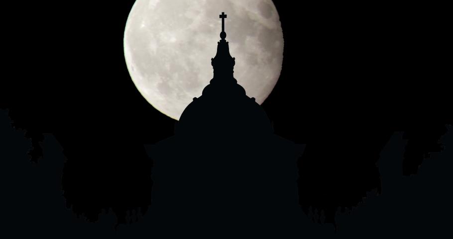 France Paris Sorbonne University Moonrise Time Lapse | Shutterstock HD Video #1055282183