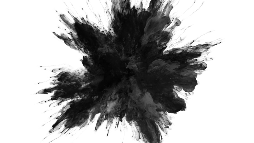Color Burst - black smoke powder explosion fluid ink particles slow motion alpha matte isolated on white Royalty-Free Stock Footage #1055285279