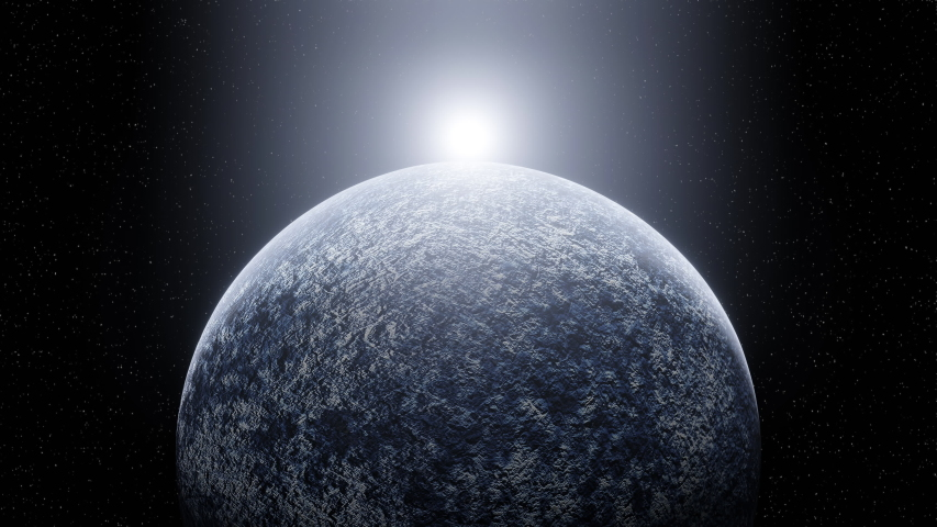 Sunrise on Rotating Blue Ice Planet in Space. Cold Sun Appears and Flares. Zoom In. Camera Approaching Planet. Stars on Background. 3d Rendering. Animation   Shutterstock HD Video #1055285732