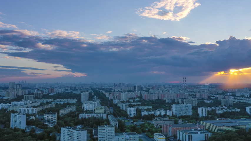 Moscow City Skyline at Sunset. Cloudy Sky. Russia. Aerial Hyper Lapse, Time Lapse   Shutterstock HD Video #1055285735