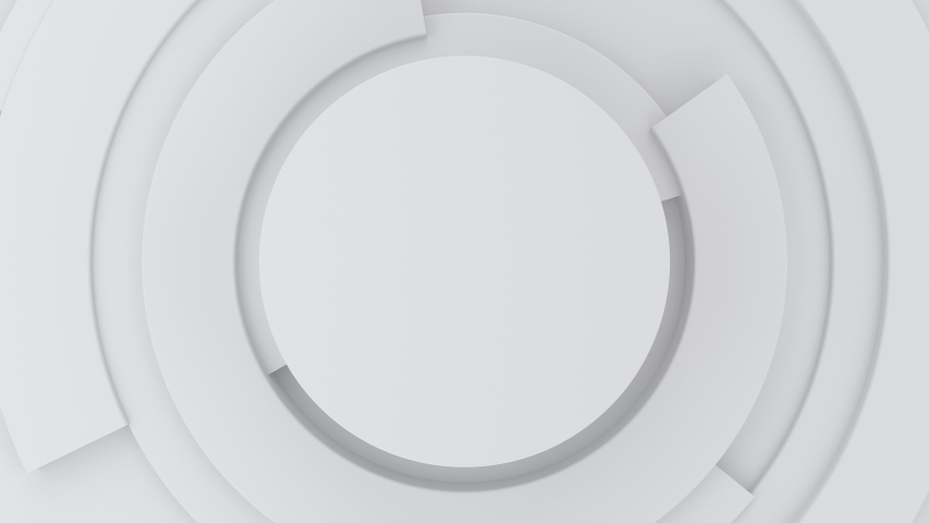 4K Abstract animation loop digital future concept mock up. Circle white gray Hi-tech background with rotating parts. Business 3d pie chart graph for corporate animation and Presentations. 3d rendering Royalty-Free Stock Footage #1055288912