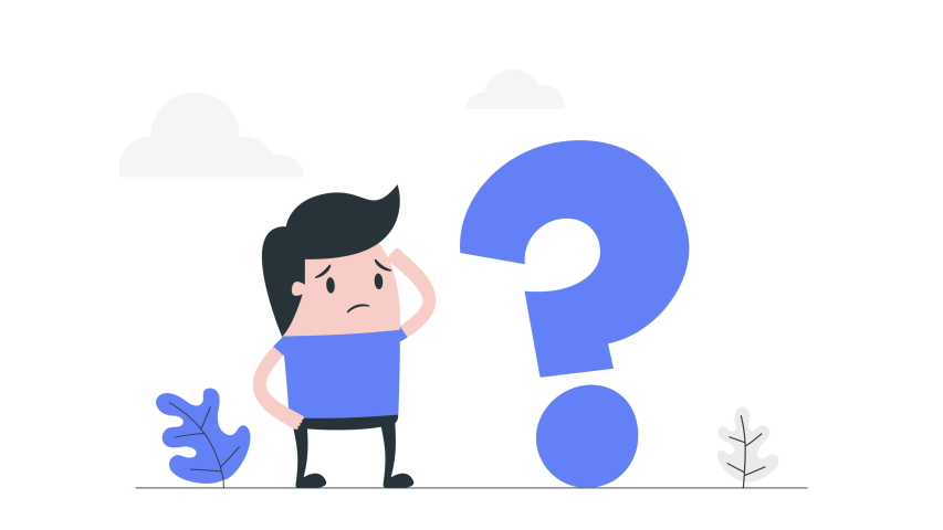 Young man solving the problem. Flat style cartoon animation of young man looking confused while thinking and then he fixed his problem. | Shutterstock HD Video #1055296937