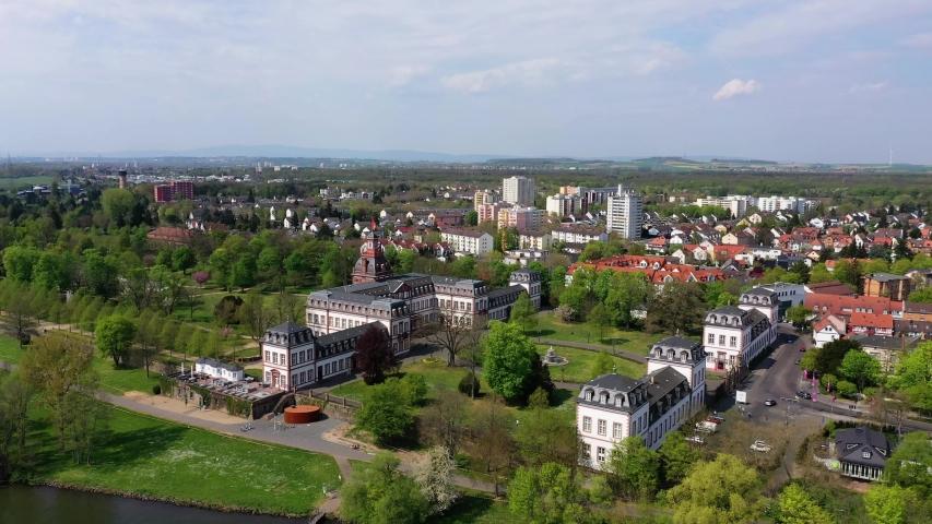 Philippsruhe Castle in Hanau, Hesse, Germany   Shutterstock HD Video #1055299034