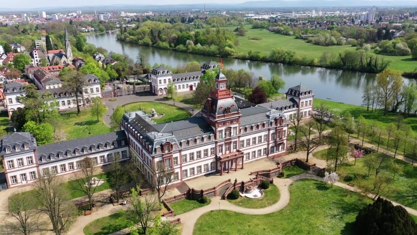 Philippsruhe Castle in Hanau, Hesse, Germany   Shutterstock HD Video #1055299079