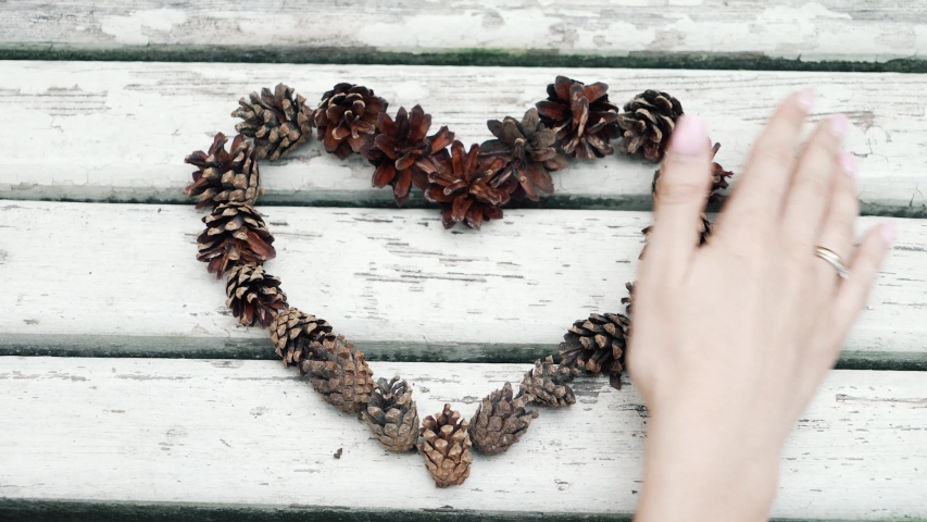 Broken love concept. Brown pine cones are laid out in the shape of a heart on the background of a white old wooden table with scratches and scuffs. Peeling paint. 4K resolution | Shutterstock HD Video #1055311559