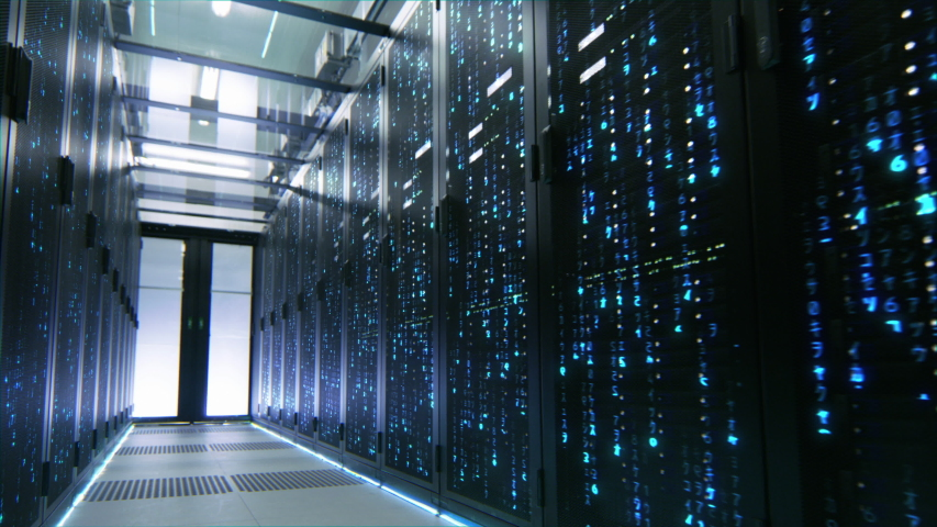 Data Center Style Numbers Raining in Server Racks. Animation Visualizing and Digitalizing Virtual Reality of Information, Data, Simulation, Quantum Super Computing, AI and Neural Networks Royalty-Free Stock Footage #1055314160