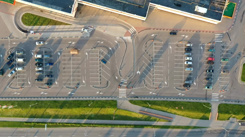 Parking in the city near the shopping center at sunset in summer. view from above.2020. Time-lapse. aerial photography | Shutterstock HD Video #1055314586