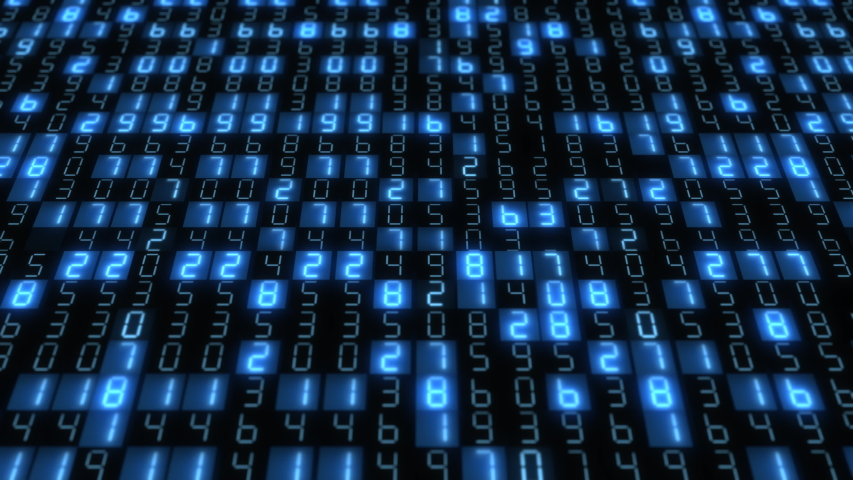 Hexadecimal big data digital code running through black and blue mainframe in a futuristic information technology computer.  Royalty-Free Stock Footage #1055315261