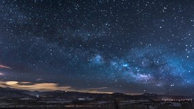 Night sky milky way galaxy. This animated video can loop able to any duration as you want. Night sky milky way galaxy starry sky time-lapse from the shining city light at night under starry stars.