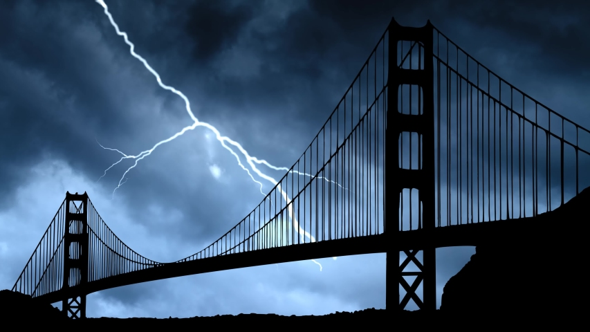 San Francisco: Lightning and Thunderstorm Flash Over the Iconic Golden Gate Bridge, California, USA | Shutterstock HD Video #1055315588