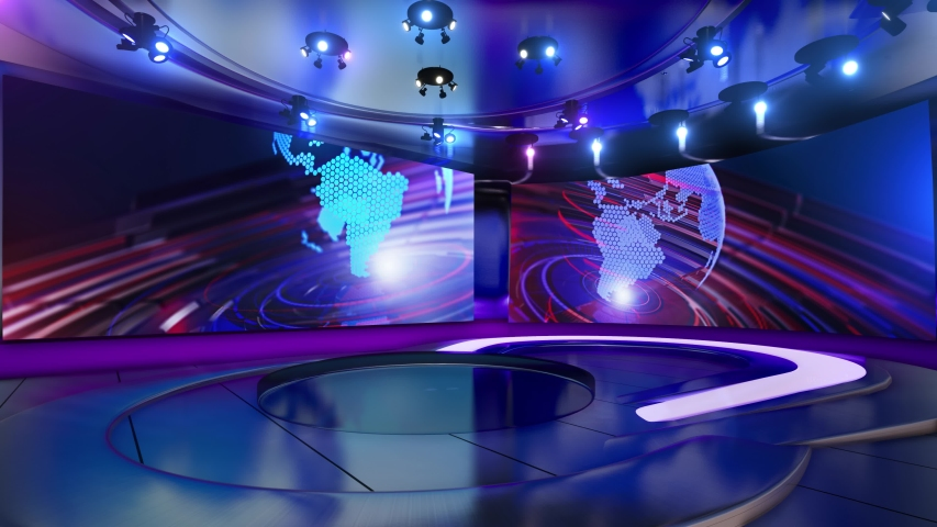 3d virtual news studio green screen background