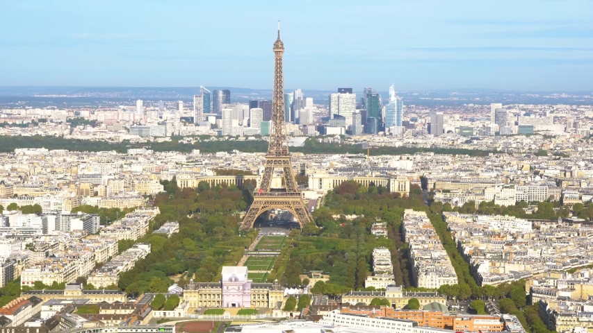 View of Eiffel Tower close up and Paris skyline from above, Paris France, timelaps   Shutterstock HD Video #1055318741