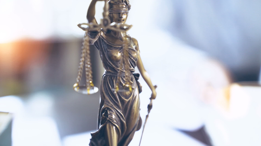 The Statue of Justice - lady justice, the Roman goddess of Justice in lawyer office Royalty-Free Stock Footage #1055322098