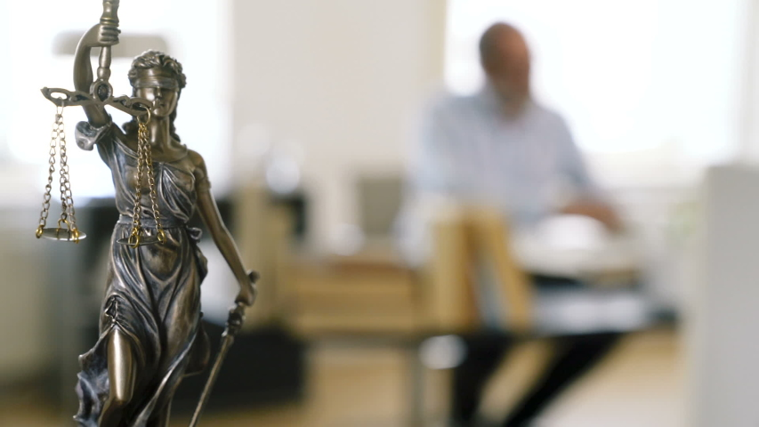The Statue of Justice - lady justice, the Roman goddess of Justice in lawyer office Royalty-Free Stock Footage #1055323886