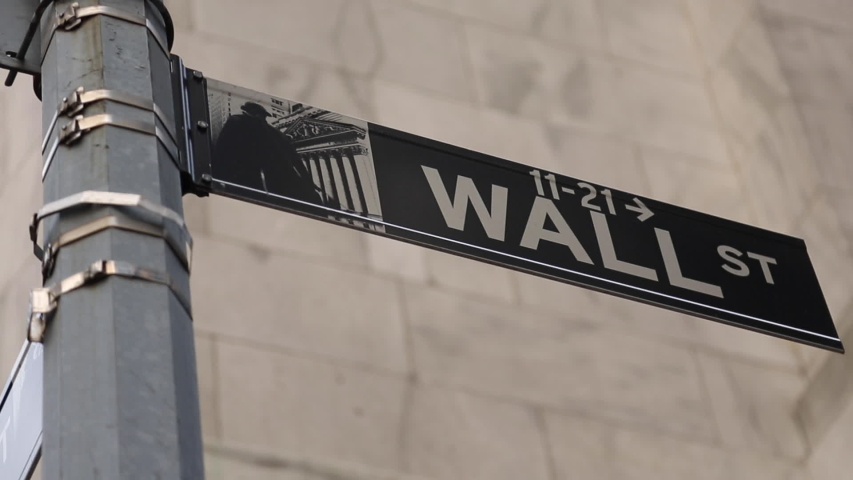 Tracking View Of Wall Street Sign | Shutterstock HD Video #1055324693