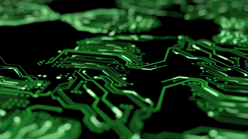 3D Futuristic motherboard circuit graphic animation background. Printed circuit board (PCB) in motion. Learning modern computer technologies animation with printed circuit board design. Royalty-Free Stock Footage #1055325920