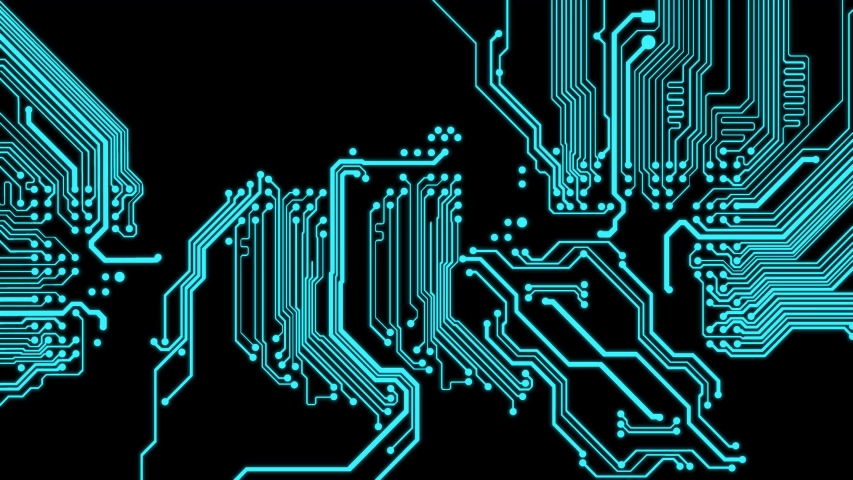 Futuristic motherboard circuit graphic animation background. Printed circuit board (PCB) in motion. Learning modern computer technologies animation with printed circuit board design Royalty-Free Stock Footage #1055325953