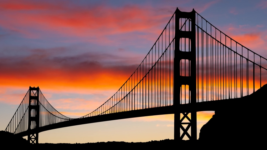 Twilight Over Golden Gate Bridge in San Francisco, Time Lapse with Colourful Clouds, California, USA