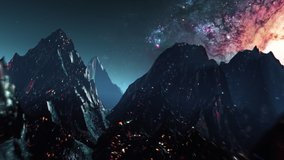 Futuristic mountain landscape flight seamless loop. Stylized VJ looping 3D animation with space and high speed flythrough. Outrun style videogame intro or background for EDM music live show or concert