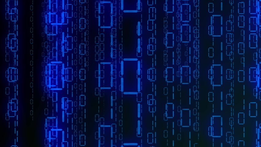 Matrix style blue binary code streaming down. The camera moves through the falling numbers. . Seamless loop. 4K | Shutterstock HD Video #1055332553