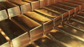 Realistic gold ingots animation with effective lighting abstract background for finance 4K stock video