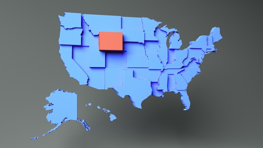 WYOMING - State map with 3D rendering of the United States.   Shutterstock HD Video #1055337290