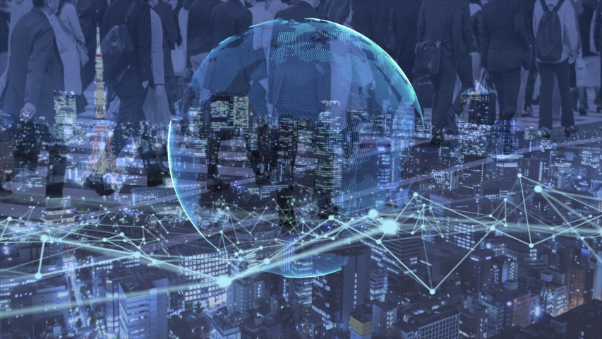 Double exposure of business people walking on digital and urban city background. International technology business concept. 3d illustration. | Shutterstock HD Video #1055338109