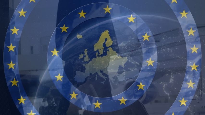 Animation of the map of European Union over a man with a suitcase with yellow stars on moving blue circles. European Union Community democracy concept  digitally generated image. | Shutterstock HD Video #1055338664