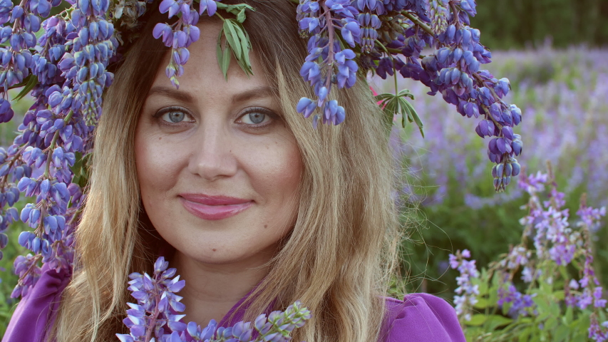Attractive woman in lupin lupinus wreath on head looking to camera on flowering lupine field. Portrait beautiful woman with violet lupin bouquet on blooming meadow in countryside.   Shutterstock HD Video #1055345444