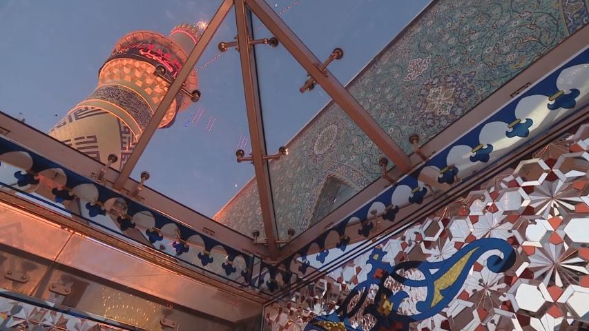 Eid ul-Fitr Namaz in Karbala. Dome mosque with the temple of Imam Hussein Ibn Ali in Karbala Iraq