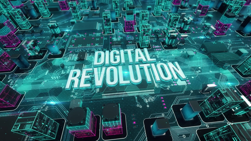 Digital Revolution with digital technology hitech concept Royalty-Free Stock Footage #1055347934