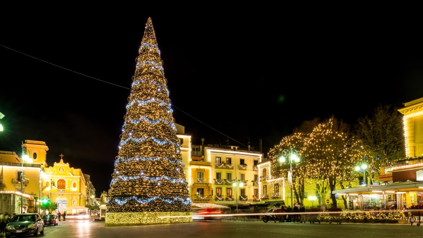 Sorrento with Christmas lights and Christmas tree, timelapse in Piazza Tasso | Shutterstock HD Video #1055349626