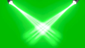 Rays of lights on green screen background animation. Beams light on stage footage HD video.