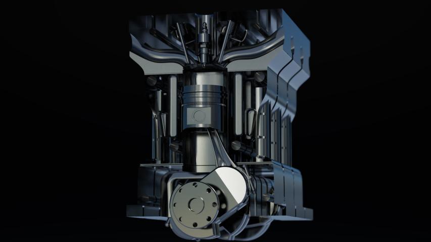 3D rendering of modern car engine pistons on black background.   Shutterstock HD Video #1055359193