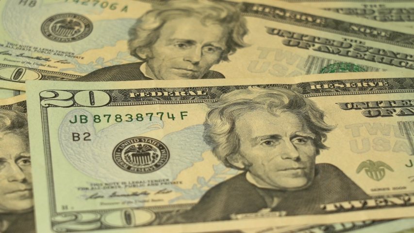 Closeup view 4k video footage of counting american paper money.   Shutterstock HD Video #1055359265