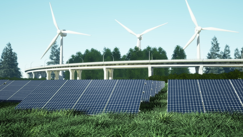 3D rendering of field of solar panels with wind turbines in the background   Shutterstock HD Video #1055359307
