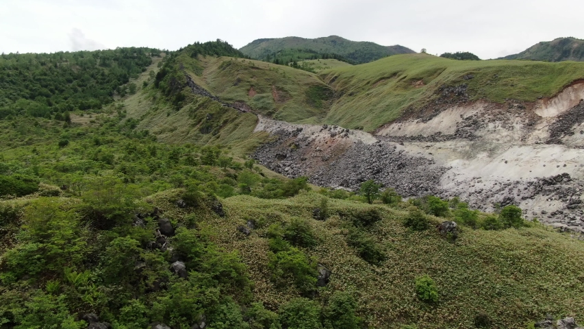It is located at the foot of Mt. Kusatsu-Shirane in Gunma prefecture. Vapors containing toxic hydrogen sulfide are constantly erupting from the rugged rocky area where no plants grow. If you get close | Shutterstock HD Video #1055360390