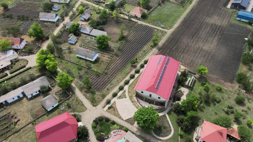 Aerial view. Ukrainian village. (Movement upward) Frumushika Nova village, Odessa oblast, Ukraine, Eastern Europe | Shutterstock HD Video #1055362454