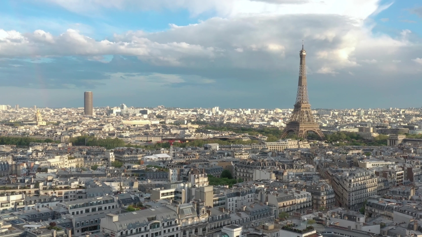 France, Paris aerial view, drone shot, aerial view flying above buildings. | Shutterstock HD Video #1055364728