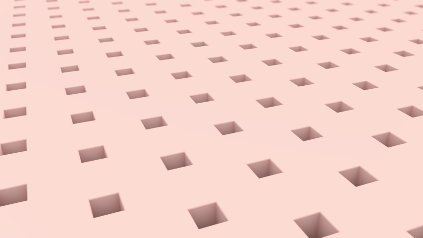 3D animation of a pink surface with square holes from which gold cubes pop out and turn into balls. Abstract background. | Shutterstock HD Video #1055366888