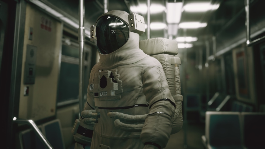 Astronaut Inside of the old non-modernized subway car in USA | Shutterstock HD Video #1055384744