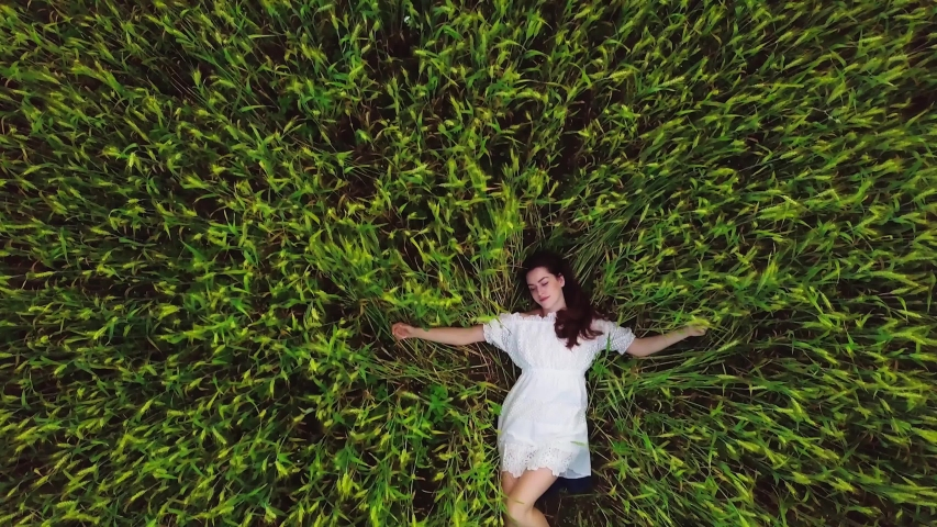 Young modern romantic girl in white dress with brown hair relaxing in big green yellow wheat field in summer. 4K RED camera | Shutterstock HD Video #1055387114