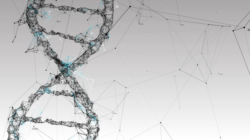 Human DNA. Abstract light background with plexus and numbers.   Shutterstock HD Video #1055391485