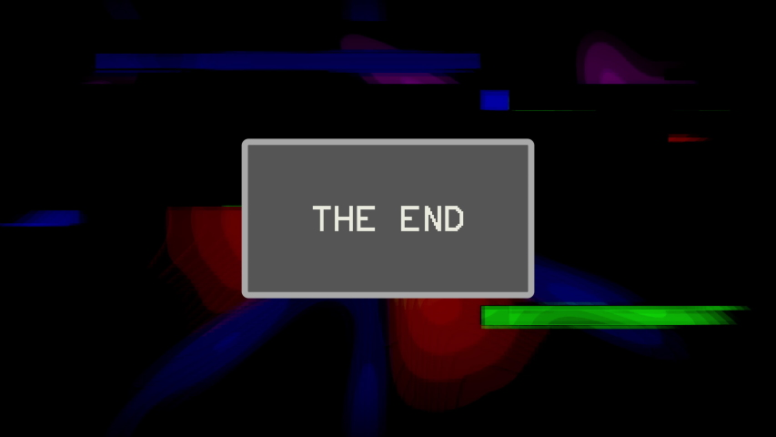 Intentional distortion and glitch effect on a TV screen with a flashing message in a gray box: The end.   Shutterstock HD Video #1055393615